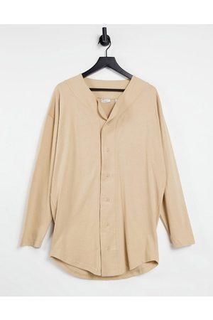 ASOS Oversize long sleeve baseball shirt in beige-Neutral