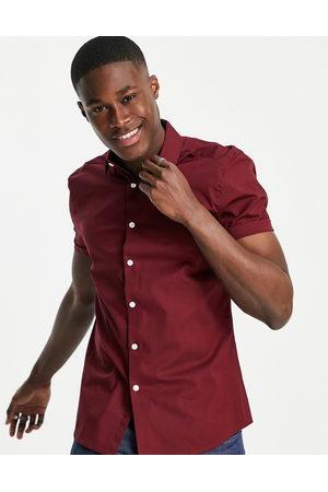 ASOS DESIGN Homem Manga curta - Stretch skinny fit shirt in burgundy-Red