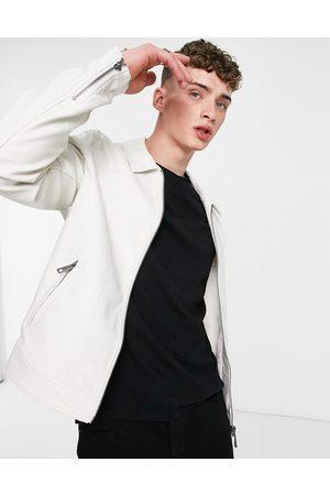 ASOS Faux leather harrington jacket in white