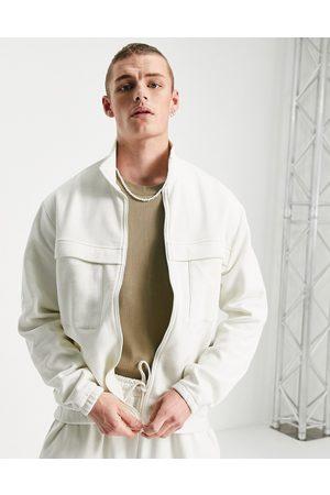 ASOS DESIGN Co-ord oversized smart track jacket in off white