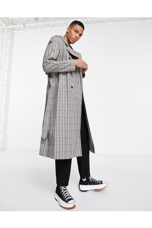 ASOS DESIGN Homem Gabardinas - Double breasted trench coat in grey check