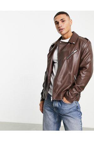ASOS DESIGN Faux leather biker jacket in brown