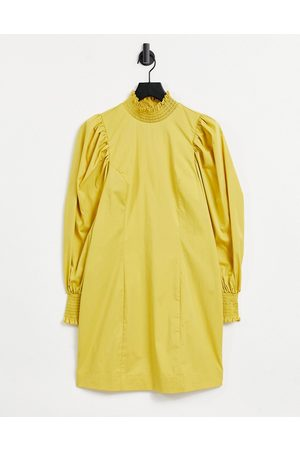 Object Poplin dress with exagerated sleeve in yellow