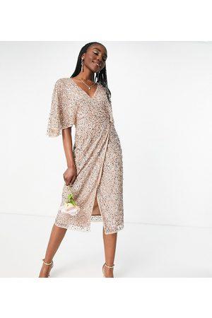Maya Bridesmaid delicate sequin wrap midi pencil dress in taupe blush-Pink