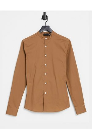 ASOS DESIGN Skinny fit shirt with grandad collar in light brown