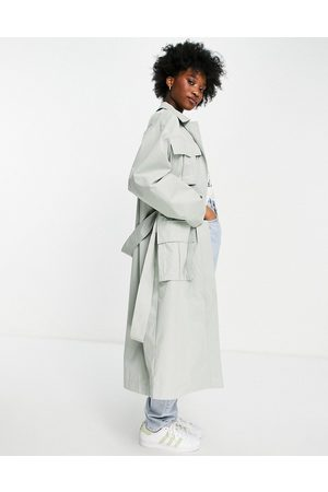 ASOS DESIGN Senhora Gabardinas - Luxe oversized trench coat with pocket detail in sage-Grey