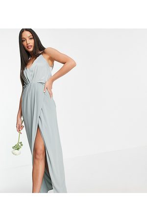 TFNC Tall Bridesmaid satin halterneck top maxi dress in sage-Green