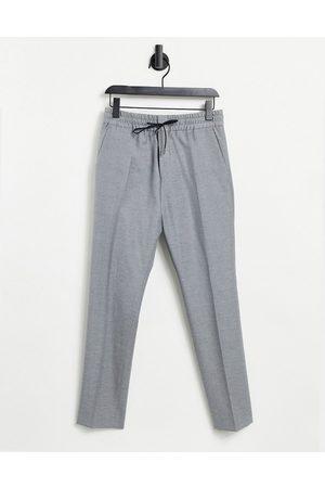 HUGO BOSS HUGO Howard 204 extra slim fit elasticated wool trousers-Silver