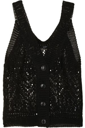 GOEN.J Senhora Camisolas - Buttoned crochet-knit vest