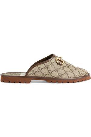 Gucci Homem Sapatos - GG monogram horsebit-detail slippers