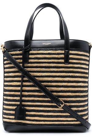 Saint Laurent Senhora Shoppers - Raffia panelled tote bag