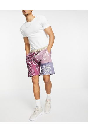 Mennace Jersey shorts co-ord in multicoloured patchwork paisley