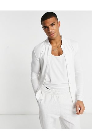 ASOS DESIGN Organic muscle fit long sleeve jersey shirt in white