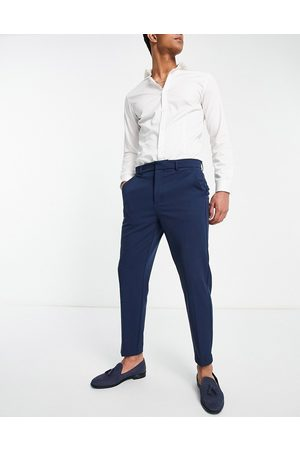 River Island Tapered trousers in blue twill