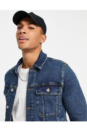 ASOS Homem Casacos - Skinny western denim jacket in mid wash-Blue