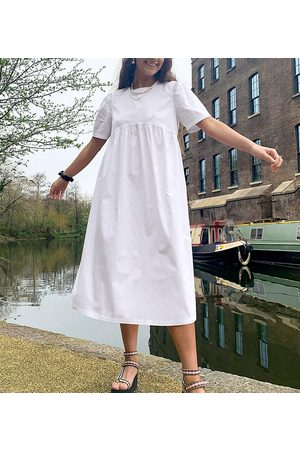 Collusion Tie back midi smock dress in white