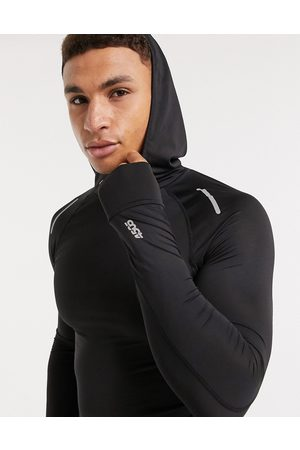 ASOS 4505 Icon muscle fit running long sleeve t-shirt with hood-Black