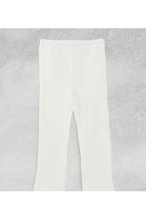 COLLUSION Joggers - Unisex chunky jersey knit wide leg joggers in ecru co-ord-White