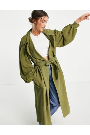 ASOS Senhora Gabardinas - Oversized linen trench coat with sleeve detail in khaki-Green