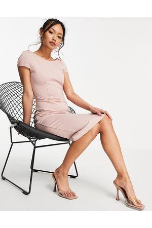 Closet Senhora Vestidos Lápis - Puff shoulder pencil dress with bodice detail in blush-Pink