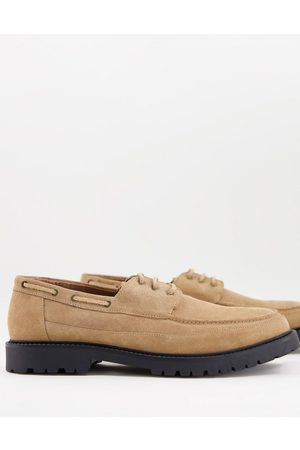 H by Hudson Keilder chunky boat shoes in beige suede-Neutral