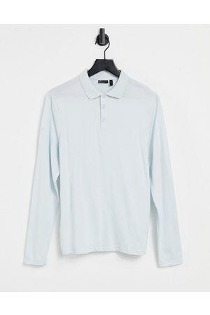 ASOS DESIGN Organic long sleeve polo in blue