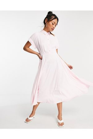 closet london Senhora Manga curta - Short fold sleeve shirt midi dress with crystal buttons in pink