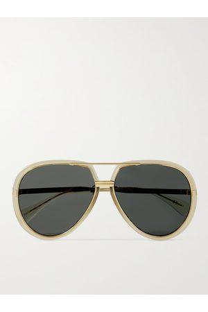 GUCCI Homem Óculos de Sol - Aviator-Style Acetate and Gold-Tone Sunglasses