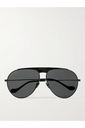 GUCCI Homem Óculos de Sol - Aviator-Style Tortoiseshell Metal Sunglasses