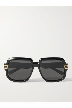 Gucci Homem Óculos de Sol - Square-Frame Tortoiseshell Acetate and Gold-Tone Sunglasses