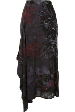 Yohji Yamamoto Senhora Saias Estampadas - Abstract print draped side skirt