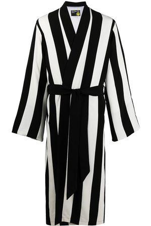 DUOltd Vertical-stripe belted wool robe