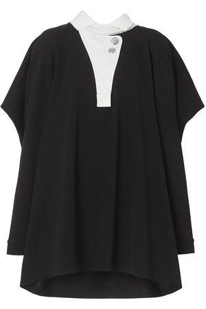 Burberry Contrast-collar piqué reconstructed polo shirt