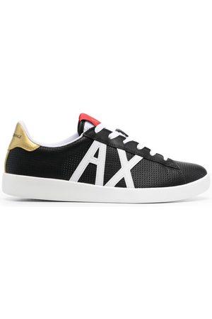 Armani Exchange Appliqué-logo perforated sneakers
