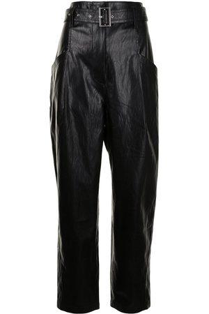Goen.J Senhora Calças em Pele - Straight-leg faux-leather trousers