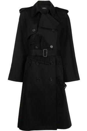 GOEN.J Senhora Gabardinas - Lace-panel trench coat
