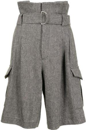 GOEN.J Senhora Calções - Belted paperbag-waist shorts