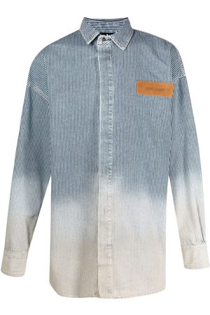 Palm Angels Homem Ganga - Bleached denim shirt