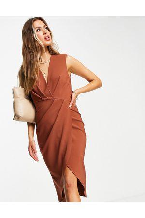 ASOS Sleeveless shoulder pad pleat midi dress in brown