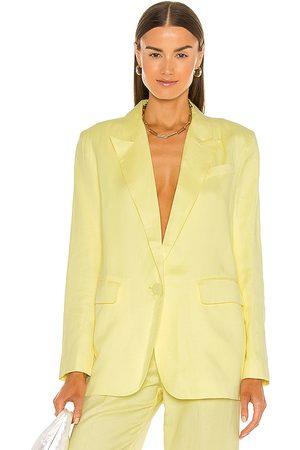 Bardot Summer Linen Blazer in - Yellow. Size L (also in M, S, XS).