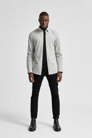 SELECTED Homem Formal - Camisa lisa sustentável de malha