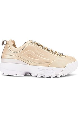 Fila Disruptor Zero Pearl Sneaker in Effervescent Effervescent & White - Metallic Gold. Size 10 (also in 7, 6, 6.5, 7.5, 8, 8.5, 9, 9.5).