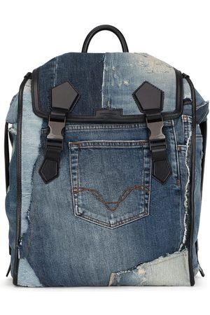 Dolce & Gabbana Homem Mochilas - Patchwork-design denim backpack
