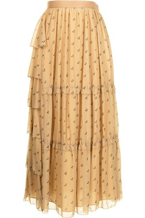 Sueundercover Cherry-print tiered maxi skirt
