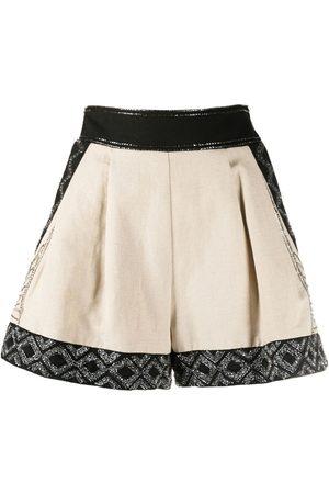 TWINSET Senhora Calções - Embroidered-panel shorts