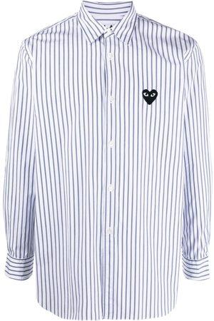 Comme Des Garçons Play Long-sleeved pinstripe heart-embroidery shirt