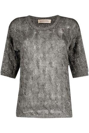 GENTRYPORTOFINO Open knit short-sleeved top