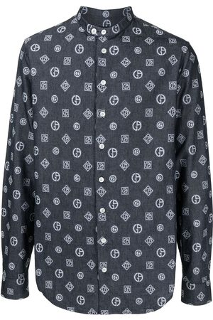 Armani Embroidered monogram denim shirt