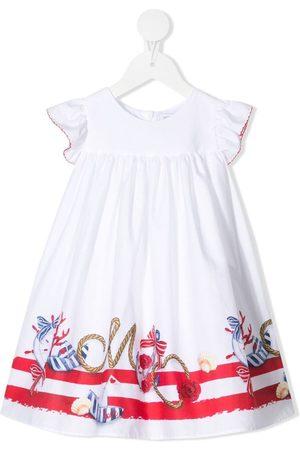 MONNALISA Nautical-motif ruffled-sleeves dress