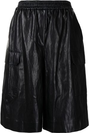 JUUN.J Senhora Calções - Elasticated-waist leather shorts